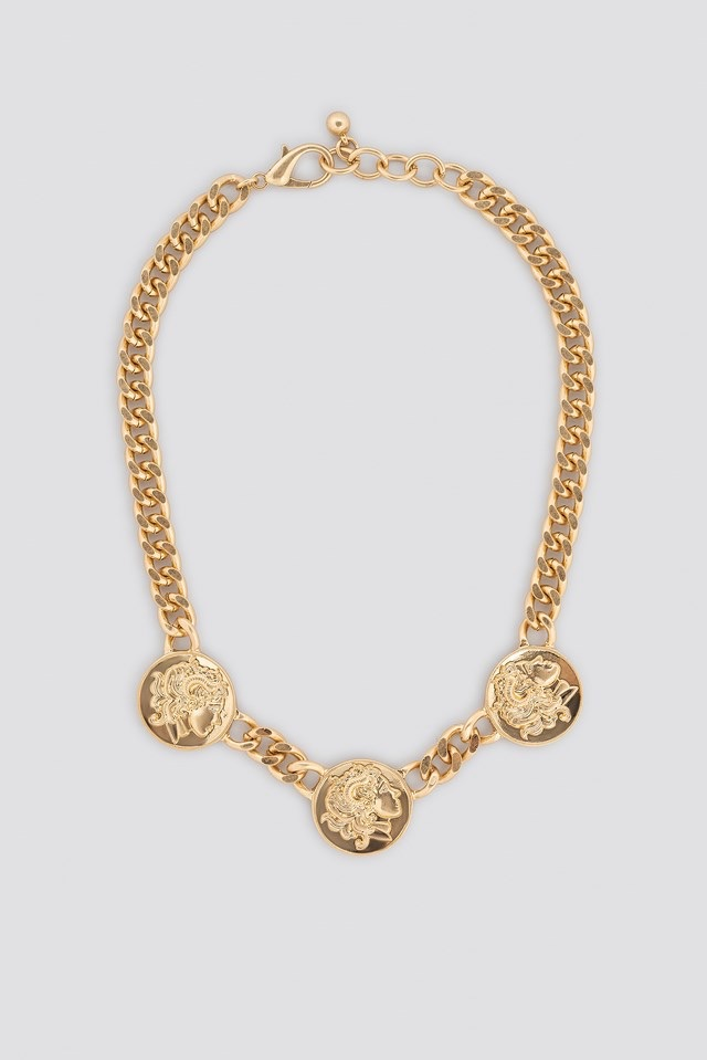 Chunky Chain Coin Necklace Gold $17.95