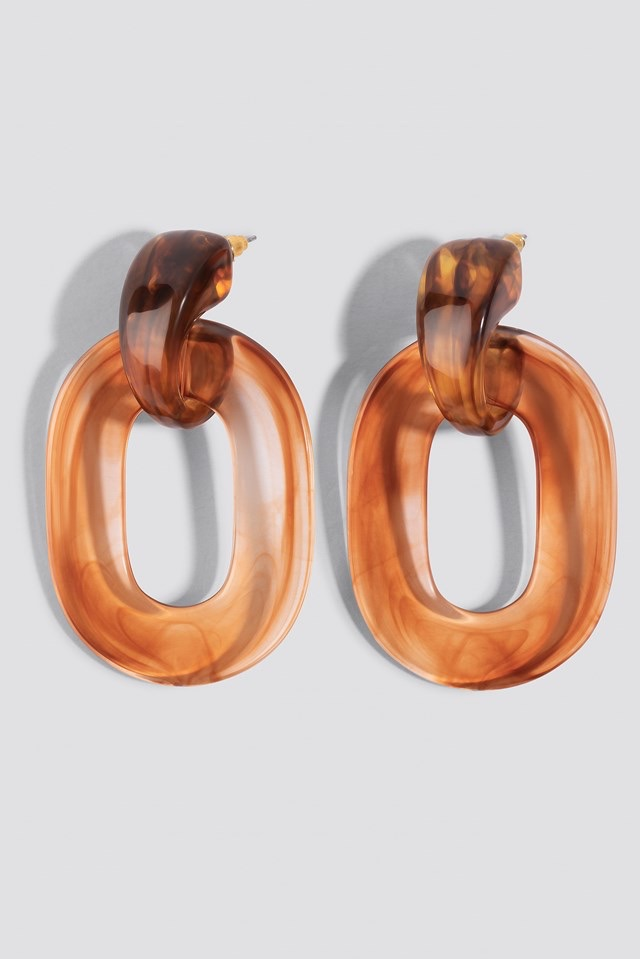 Transparent Resin Earrings Brown $14.95