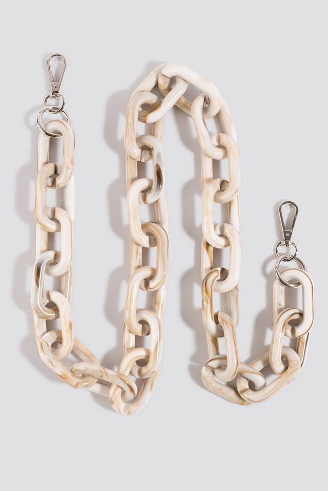 Big Resin Bag Chain Beige $23.95