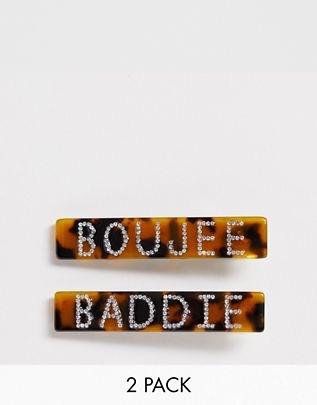 Glamorous Boujee & baddie rhinestone embellished tortoiseshell clip 2 pack$13.00