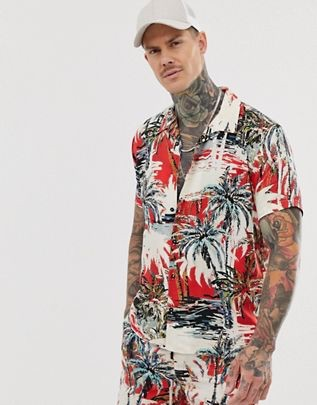 short sleeve shirt with palm tree print in red$36.00