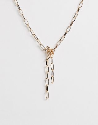 DESIGN necklace in knotted open link chain in gold tone $13.00