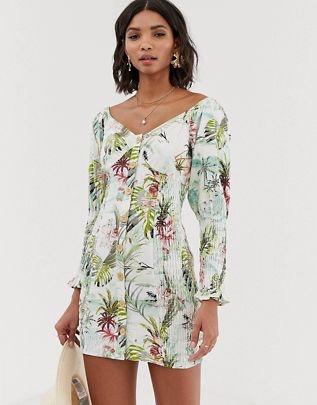 button through shirred mini dress in tropical print $48.00