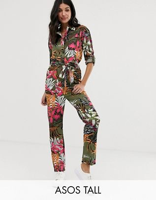 Tall tropical print boilersuit $76.00