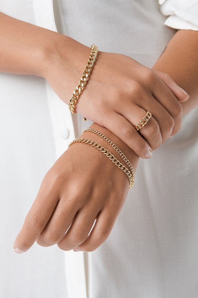 Ring and Bracelets Chain Set Gold$17.95