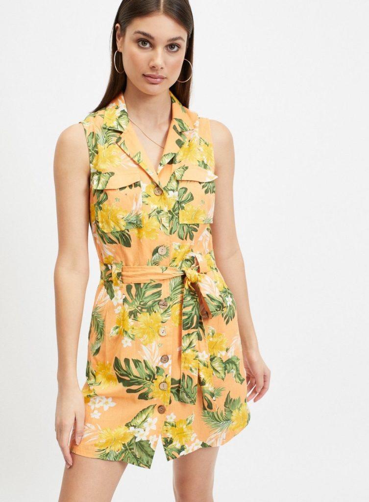 Coral Tropical Print Utility Shirt Dress $68.00