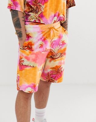 two-piece jersey shorts velour floral print$29.00