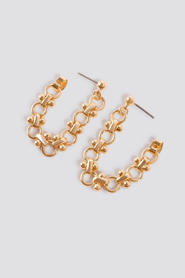 Back Connected Chain Earrings Gold $11.95