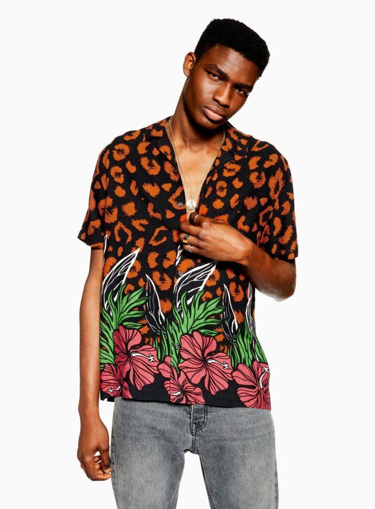 Leopard Floral Revere Shirt $55.00
