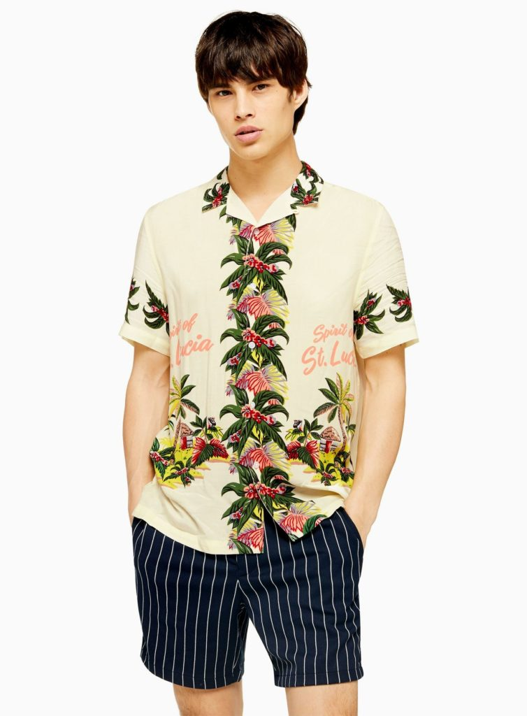 White Hawaiian Print Revere Shirt $55.00