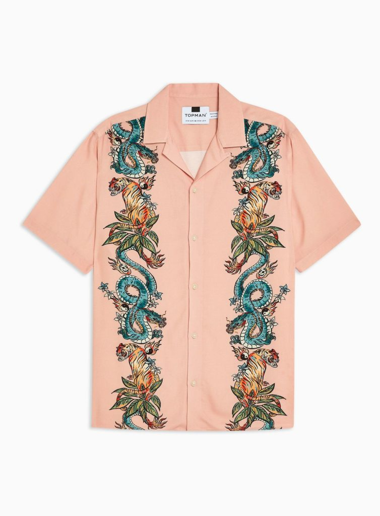 Pink Snake And Tiger Yin Yang Revere Shirt $55.00