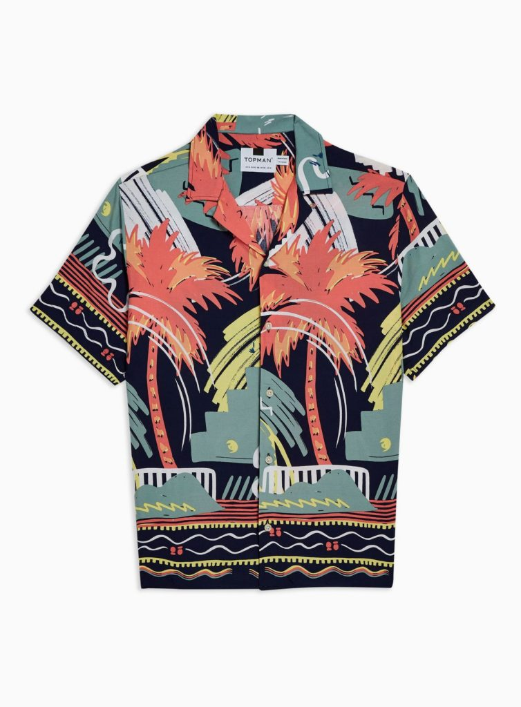Multi Palm Print Revere Shirt $55.00