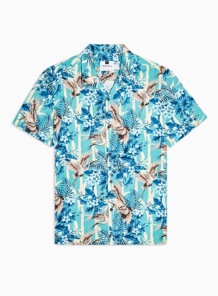 Blue Crane Floral Print Revere Shirt $45.00