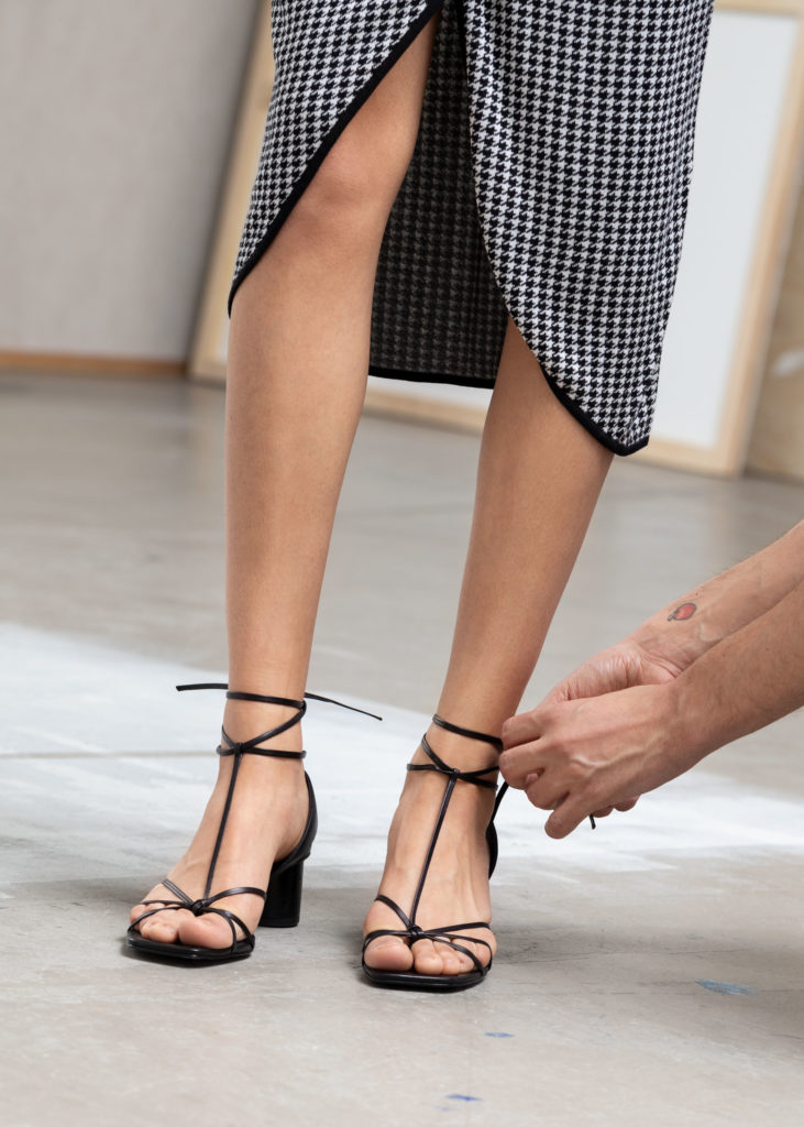 Square Toe Lace Up Heeled Sandals $129