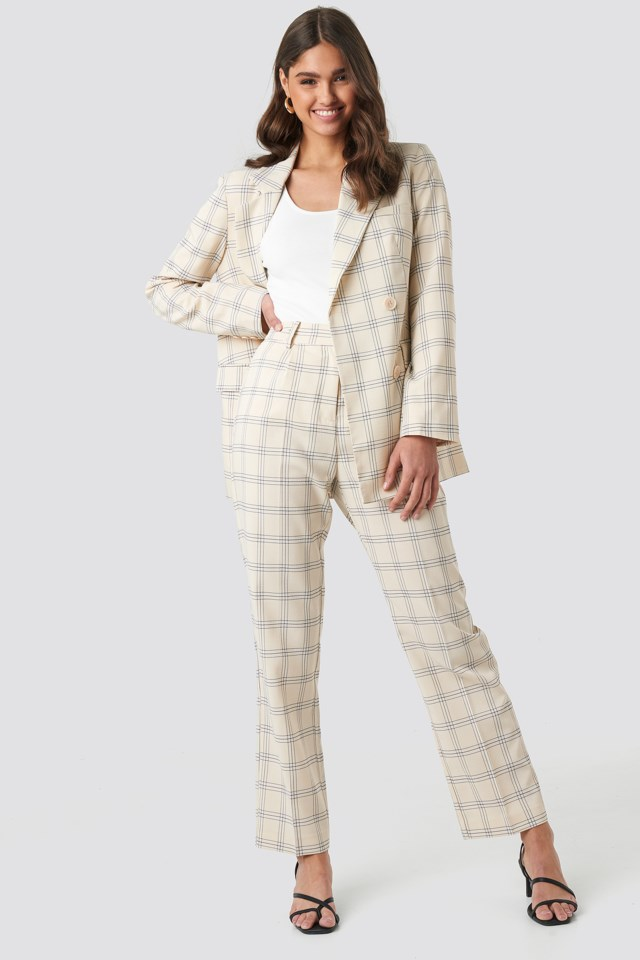 Light Checkered Suit Pants Beige $59.95