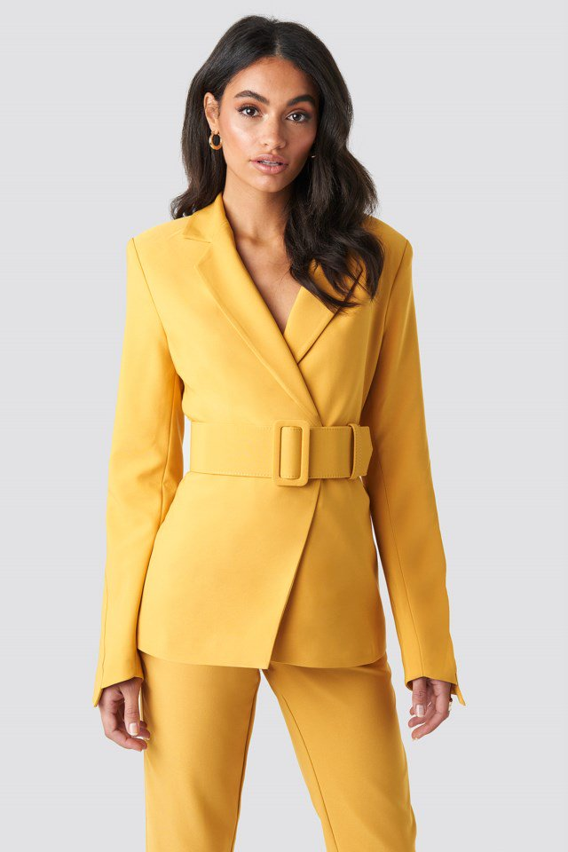 Wide Belted Suit Jacket Yellow $71.95