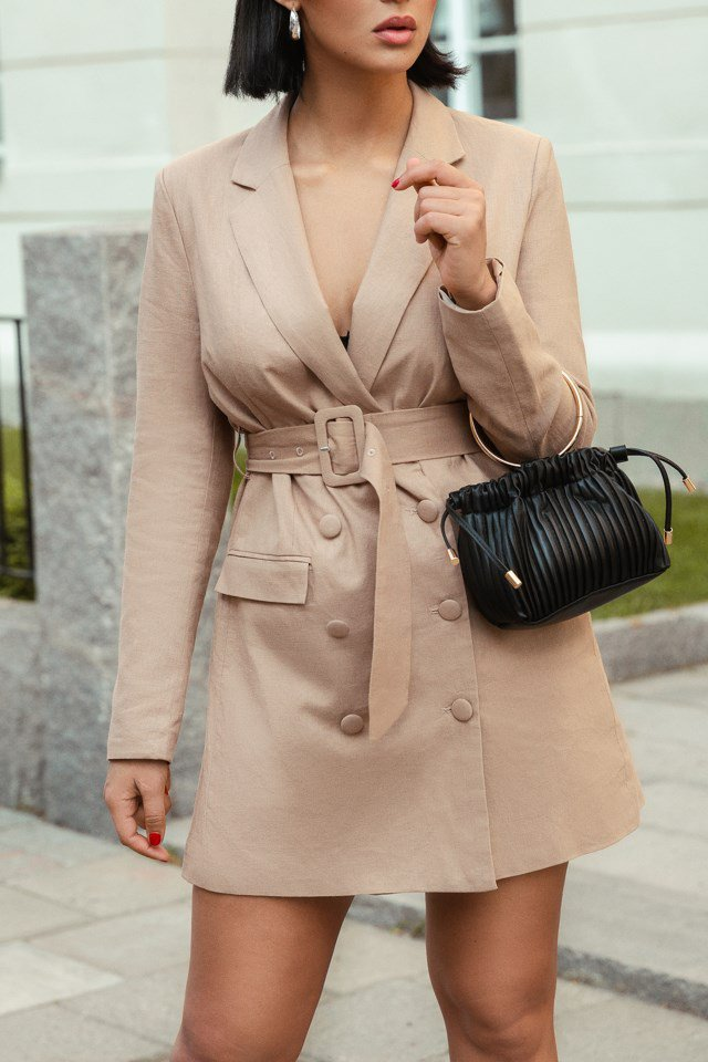 Linen Blazer Dress Beige $83.95