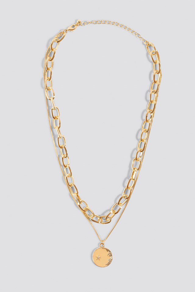 Chain Pendant Double Necklace Gold $17.95