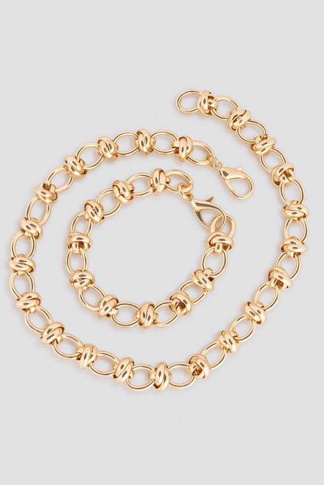 Circular Chain Necklace + Bracelet Set Gold $21.95