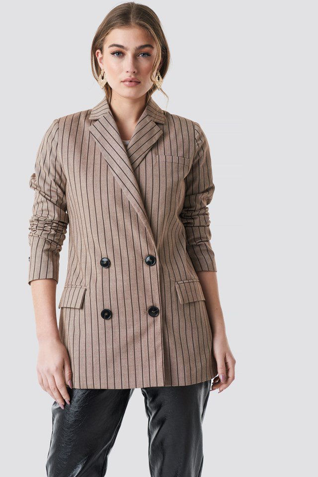 Double Breasted Striped Blazer Beige $50.37