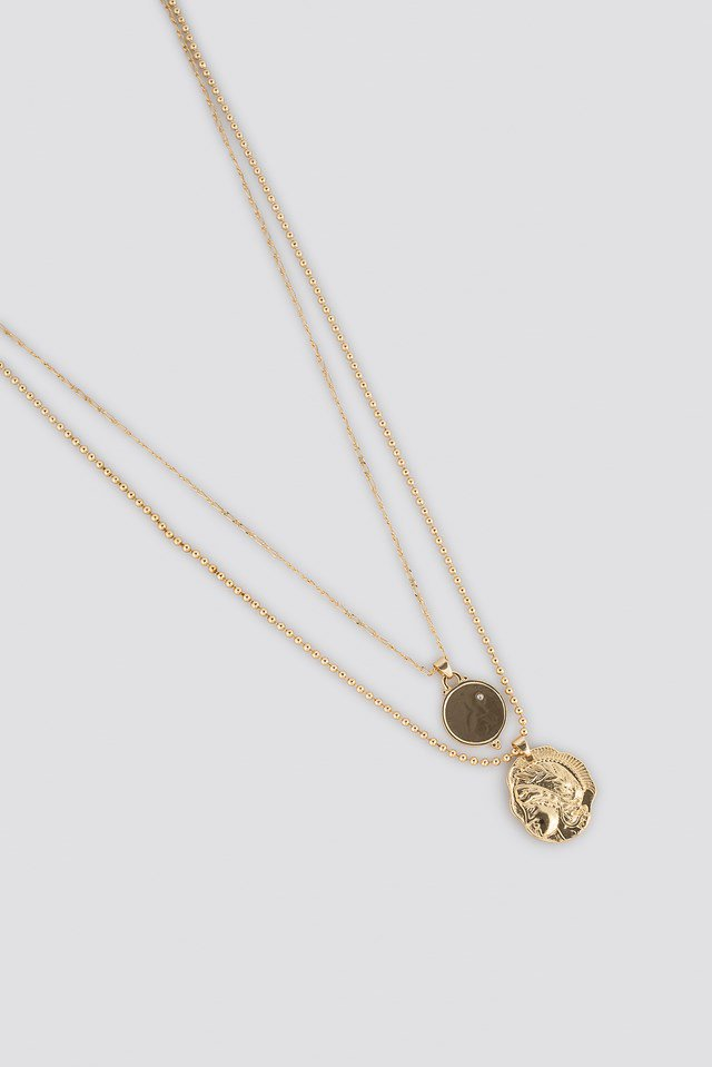 Double Vintage Coin Necklace Gold $14.95