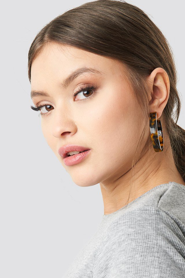 Medium Resin Hoop Earrings Brown $11.95