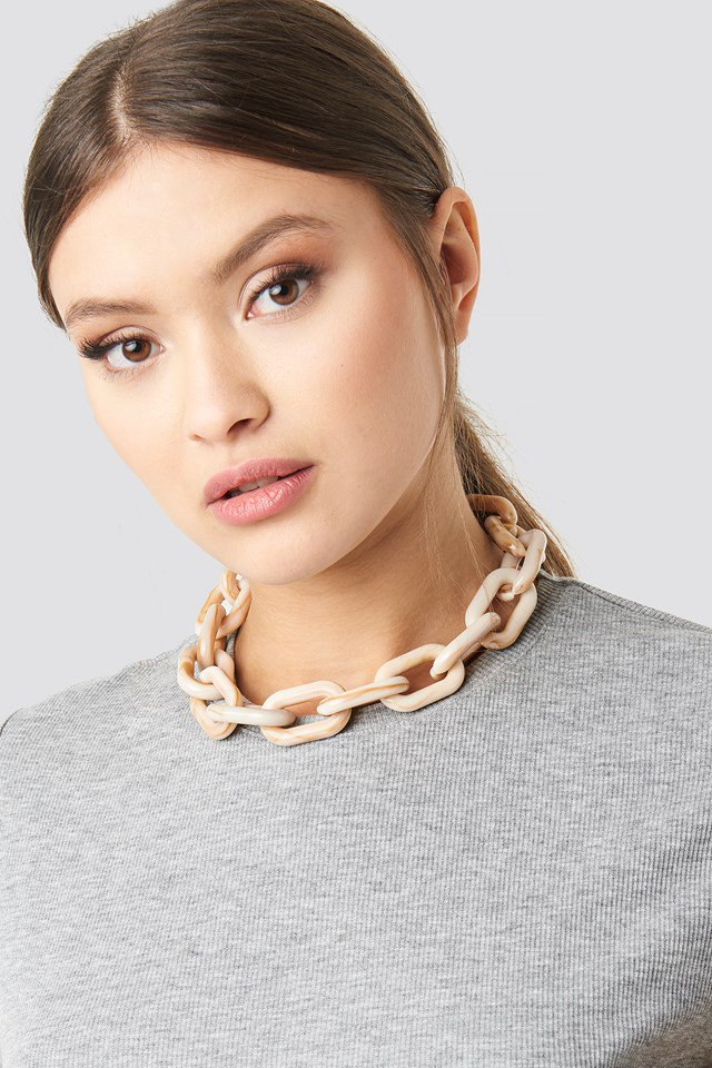 Nude Resin Chain Necklace Nude $18.95