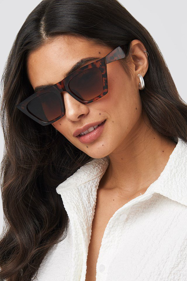 Sharp Square Cateye Sunglasses Brown $21.95