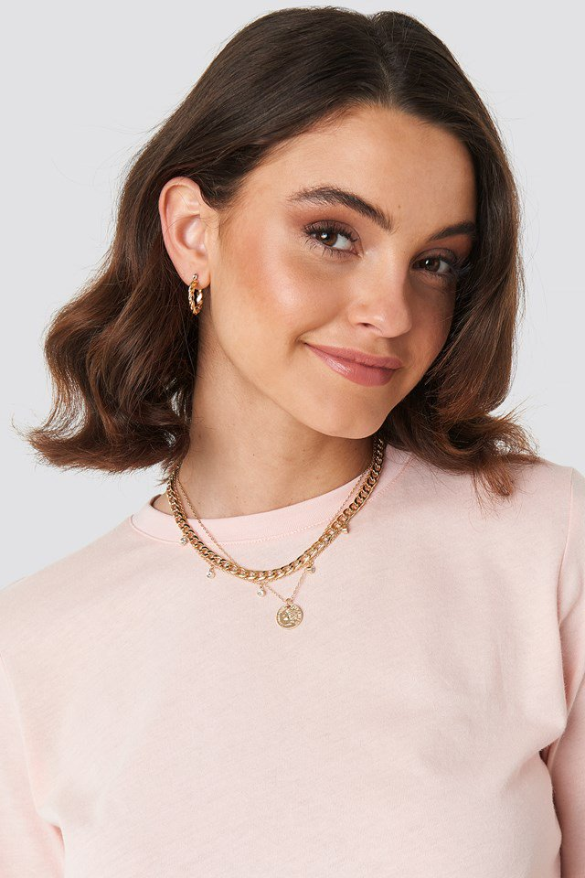 Sparkling Detail Chain Necklace Gold $15.95