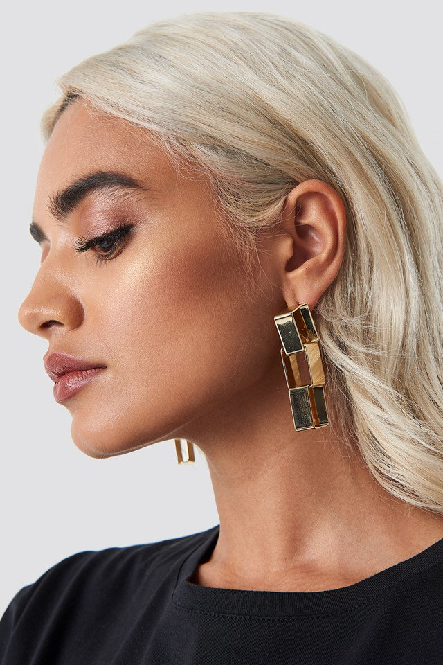 Squared Chain Earrings Gold $10.95