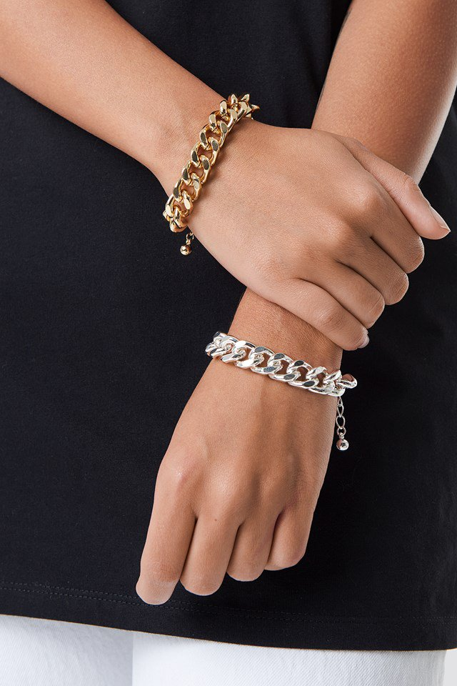 Two Wide Chain Bracelets Silver $15.95