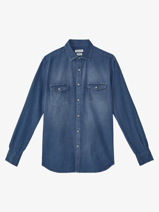 SLIM FIT COTTON DENIM SHIRT WITH TWO POCKETS $69.90
