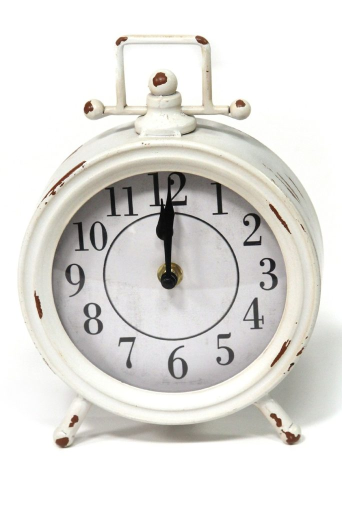 White Dorothy Vintage Metal Table Clock $23.97