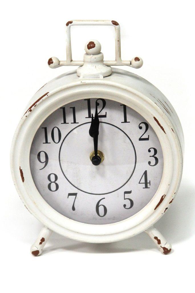 White Dorothy Vintage Metal Table Clock $23.97