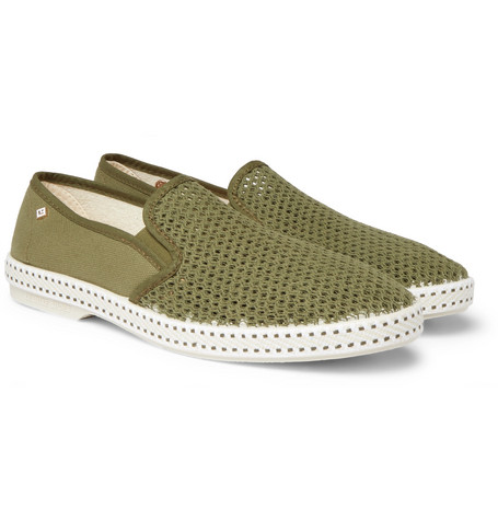 RIVIERAS Cotton-Mesh And Canvas Espadrilles $80
