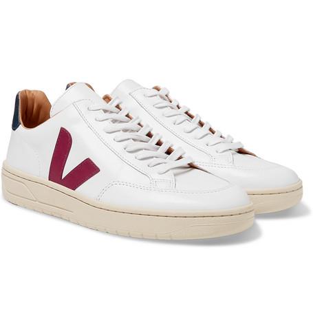 VEJA V-12 Bastille Rubber-Trimmed Leather Sneakers $195https://fave.co/2y8g8qQ