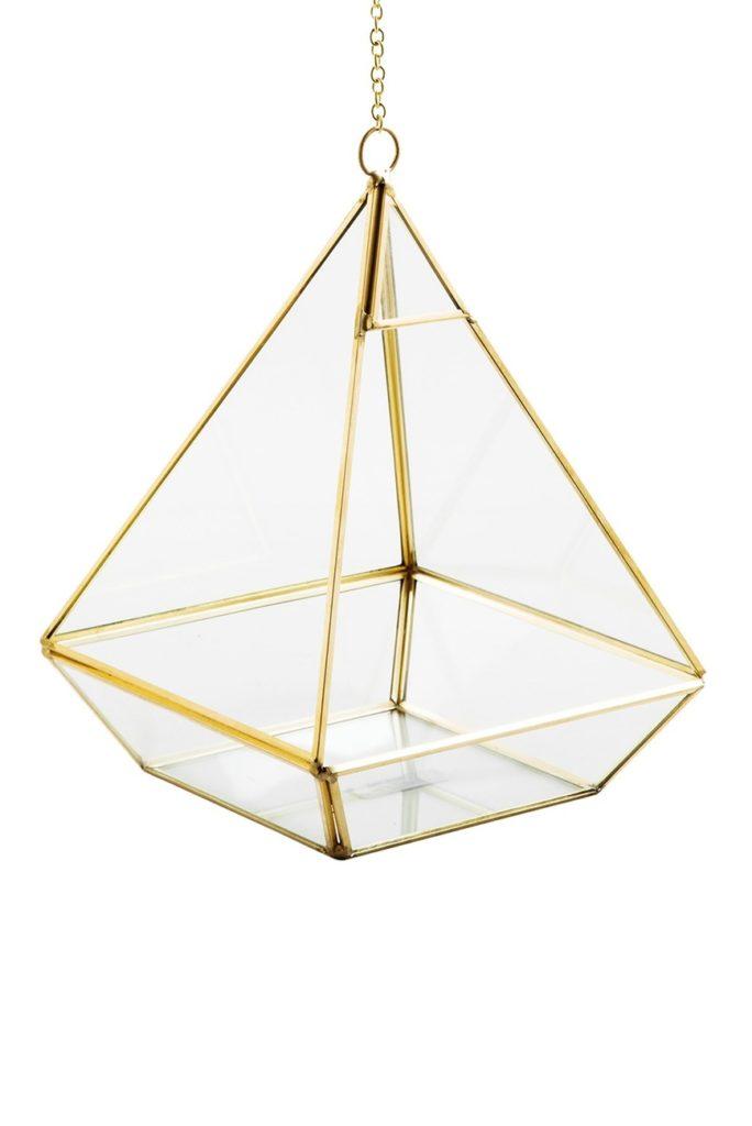 Gold Pyramid Hanging Terrarium $19.97