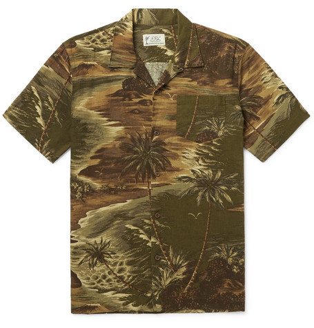 RRL Slim-Fit Camp-Collar Printed Linen-Blend Shirt $350