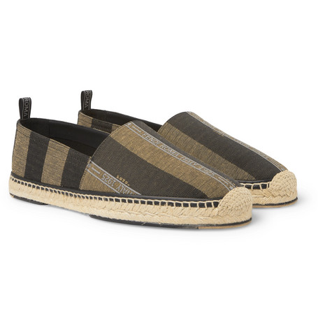 FENDI Reflective Logo-Trimmed Striped Canvas Espadrilles $590
