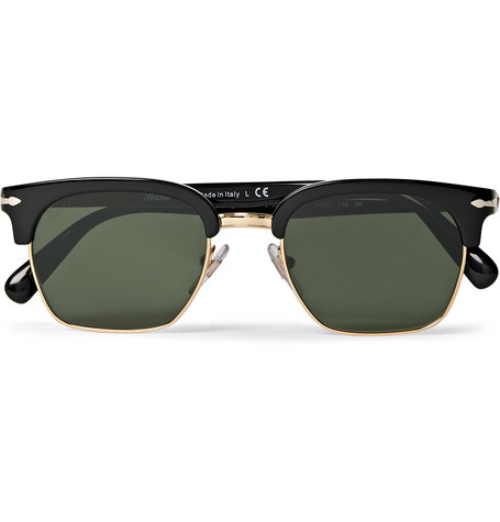 PERSOL D-Frame Acetate And Gold-Tone Sunglasses $350