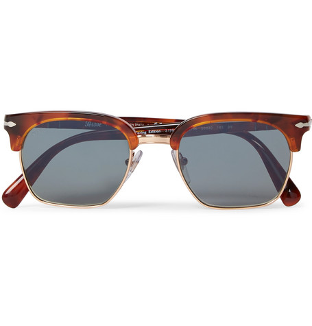 PERSOL D-Frame Tortoiseshell Acetate And Gold-Tone Sunglasses $350