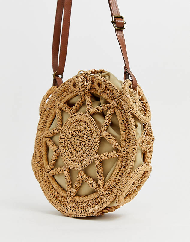 tan crochet cross body bag $56.00