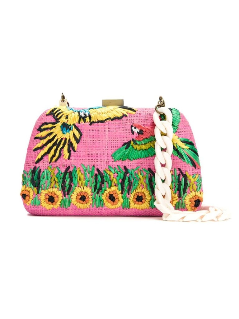 SERPUI embroidered raffia clutch $491