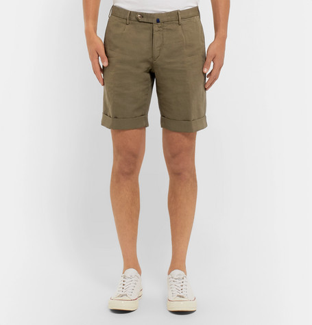 INCOTEX Slim-Fit Linen And Cotton-Blend Shorts $300