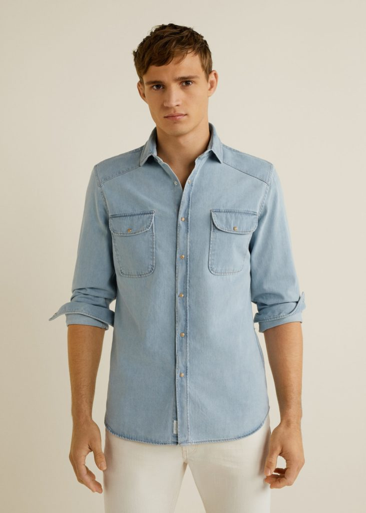Slim-fit light denim overshirt $34.99
