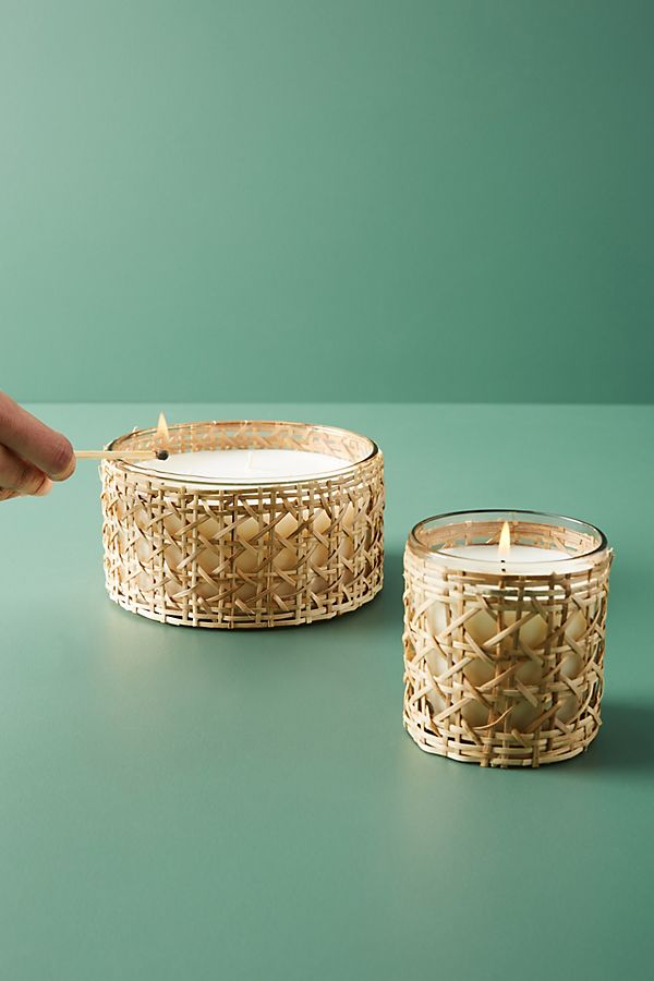 Woven Rattan Candle $26.00–$38.00