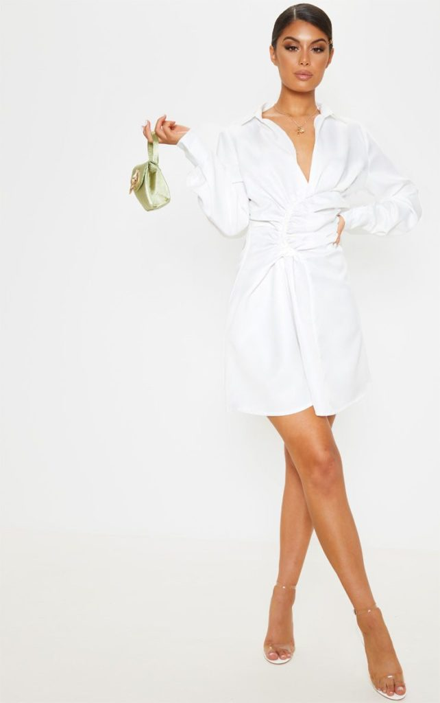 WHITE RUCHED WAIST DETAIL SHIRT DRESS $45.00