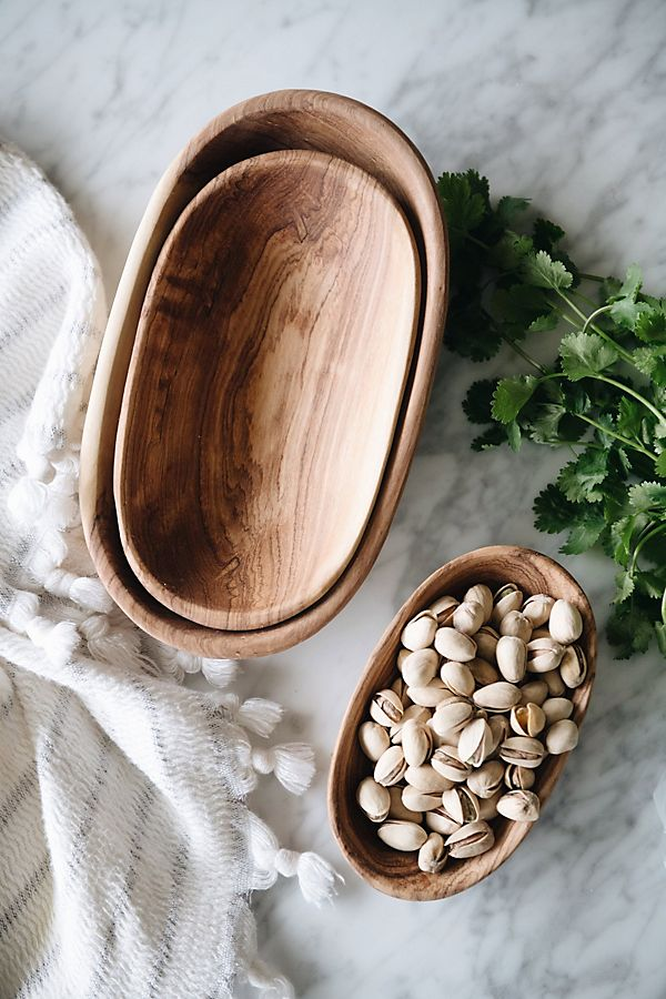 Connected Goods Wild Olive Wood Oval Serving Bowl Set $49.00