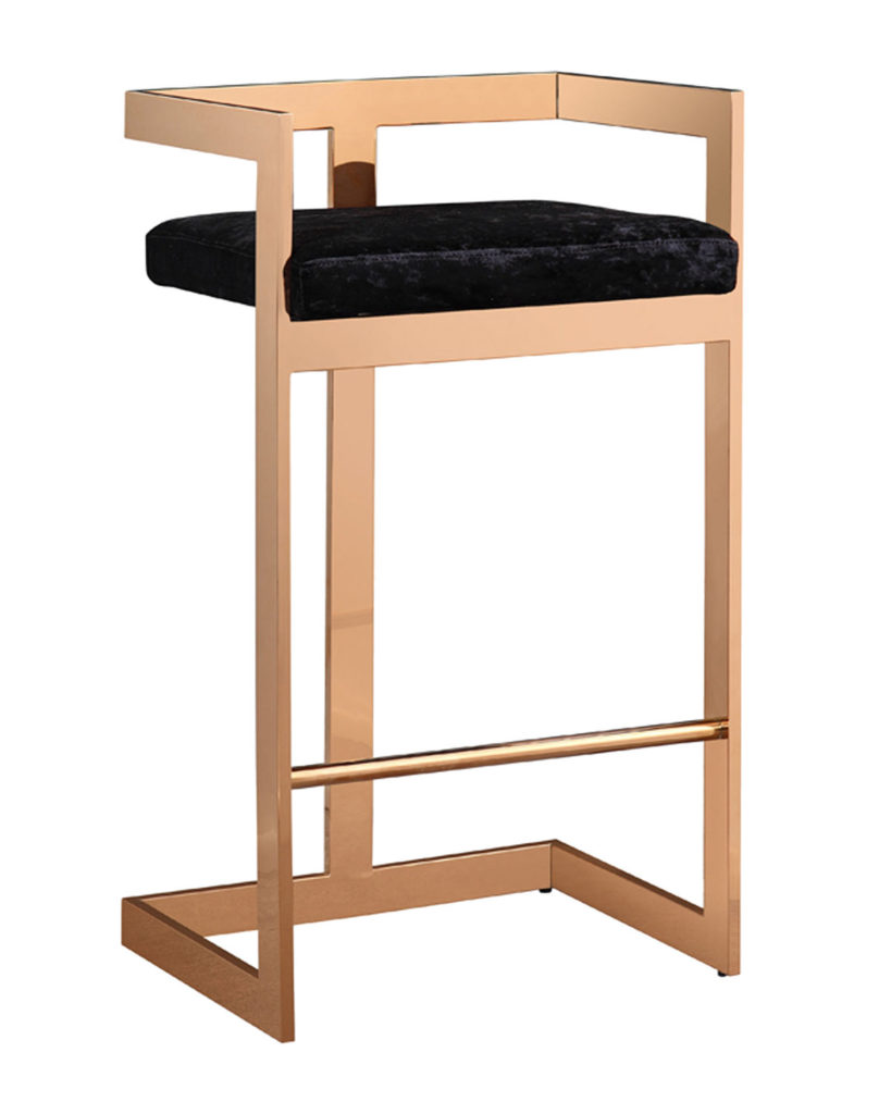 Black Marquee Velvet Bar Stool $309.99