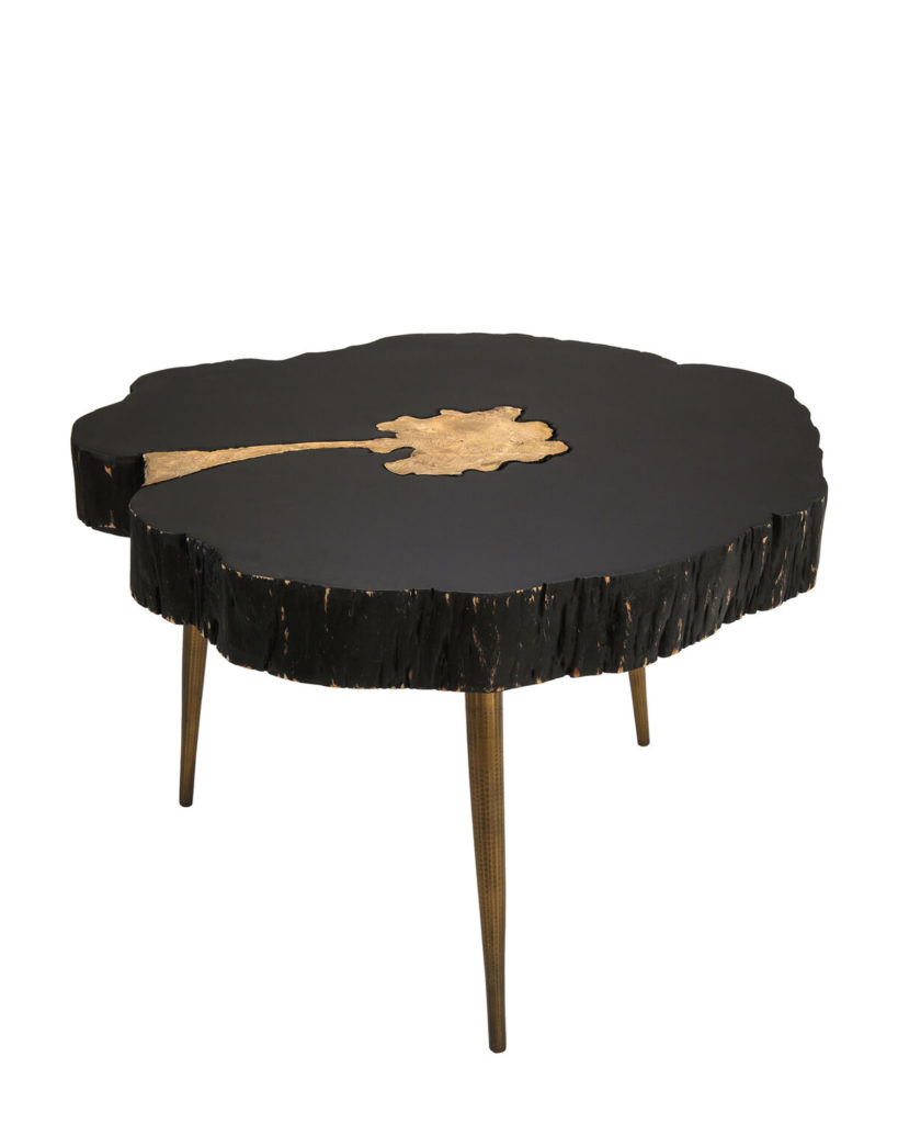 Black & Brass-Tone Timber Cocktail Table $279.99